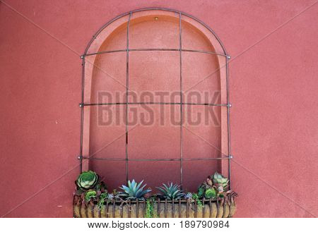Dark red stucco wall with  a planter of small succulents and wrought iron trim covering an arched architectural feature
