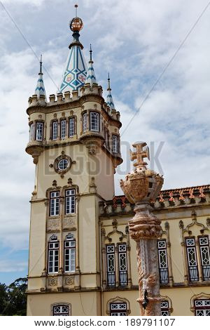 SINTRA, PORTUGAL - MAY 10, 2017: Baroque tower of Town Hall built in 1906-1909. Since 1995, the cultural landscape of Sintra is listed as UNESCO World Heritage
