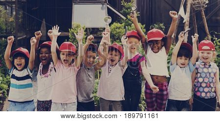 Group of kids school field trips learning outdoors active smiling fun