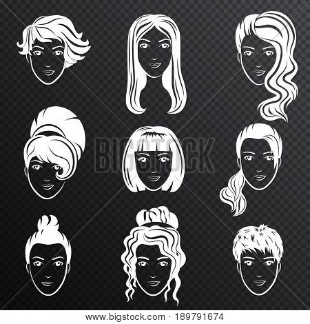 Vector set of white women avatar hairstyles stylized logo set. Female hair style icons emblem on the transperant alpha background
