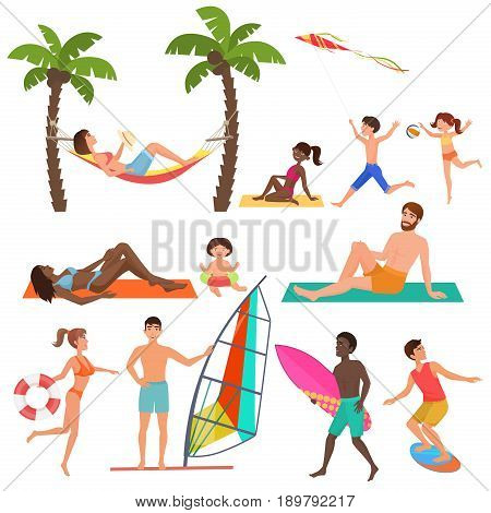 People on active sport vacation beach collection. Summer fun holidays, and ocean beach activity and relaxing