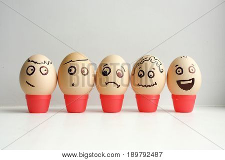 Eggs With Painted Face. Concept Of Meeting