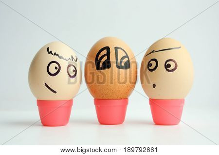 Eggs With Painted Face. The Concept