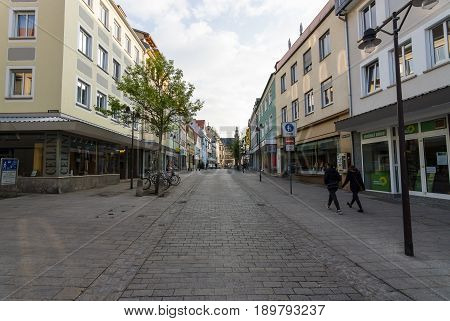 SCHWEINFURT GERMANY - APRIL 21 2017: Shopping street in the historical part of the city. Schweinfurt - a medieval city founded in 761 year.