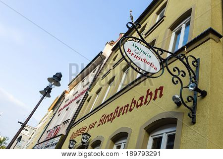 SCHWEINFURT GERMANY - APRIL 21 2017: Italian restaurant in the historic part of the city. Schweinfurt - a medieval city founded in 761 year.