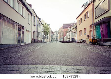 SCHWEINFURT GERMANY - APRIL 21 2017: Old streets in the historic part of the city. Vintage toning. Schweinfurt - a medieval city founded in 761 year.
