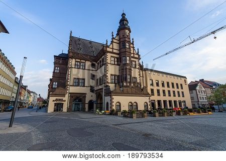SCHWEINFURT GERMANY - APRIL 21 2017: Market square with town hall. Schweinfurt - a medieval city founded in 761 year.