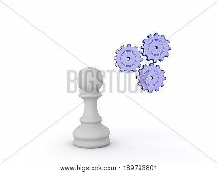 3D Illustration Of Chess Pawn Piece And Spinning Cogs