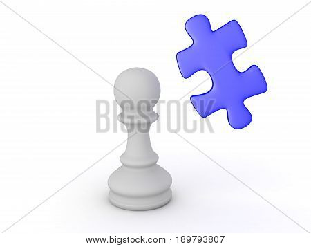3D Illustration Of Puzzle Piece And Chess Pawn Piece
