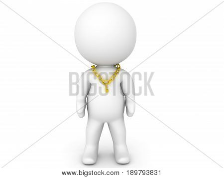 3D Character Wearing Key Necklace Around His Neck