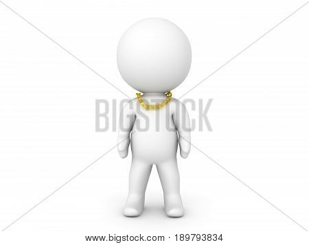 3D Character Wearing An Even Smaller Gold Chain