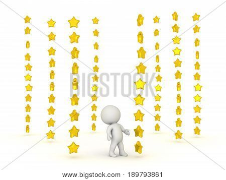 3D Character Surrounded By Many Stacks Of Shiny Stars