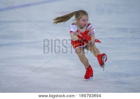 Minsk Belarus -April 23 2017: Unidentified Female Figure Skater performs Chicks Ladies Free Skating Program at Minsk Arena Cup 2017 International Figure Skating Competition in April 23 2017 in Minsk Belarus