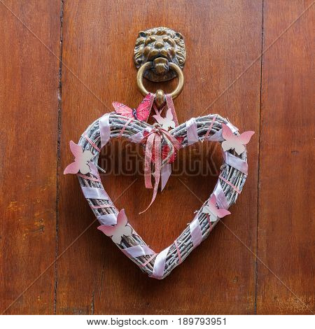 Decorative Heart At An Old Doorknocker