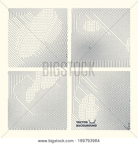 Monochrome printing raster. Set abstract vector halftone background. Black and white texture of dots.