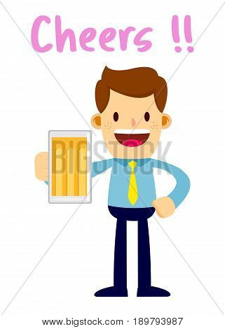 Vector stock of a businessman holding glass of beer