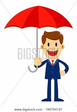 Vector stock of a businessman holding an umbrella