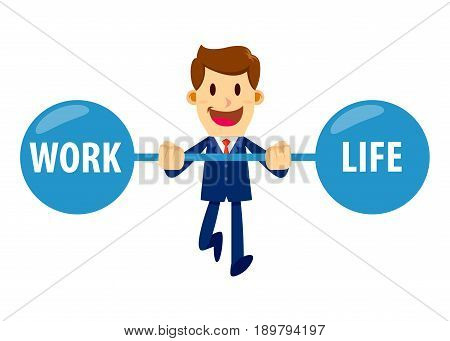 Vector stock of a businessman keeping balance between work and life