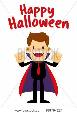 Vector stock of businessman wearing Dracula halloween costume