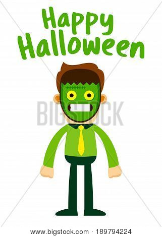 Vector stock of businessman wearing Frankenstein halloween mask