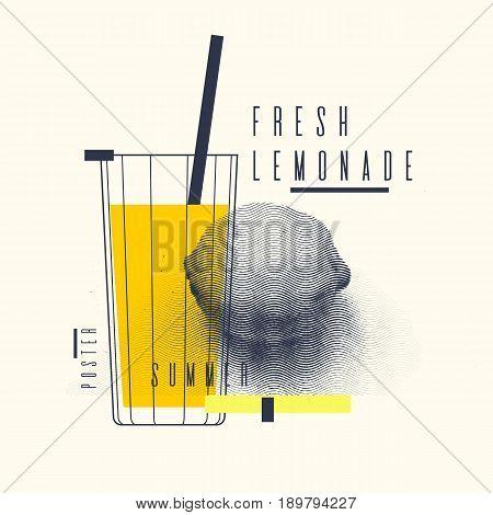 Fresh lemonade stylish poster, trendy graphics. Vector illustration