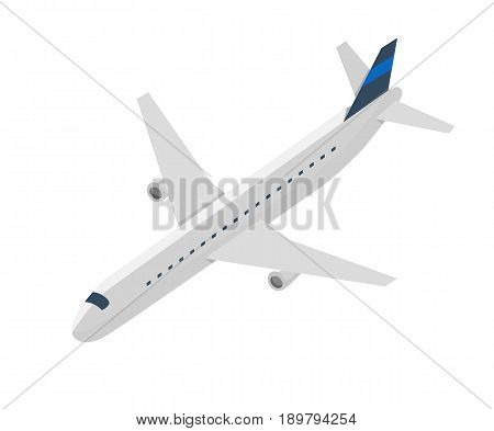 Passenger jet airplane isolated icon. Aircraft, modern plane vector illustration isolated on white background.