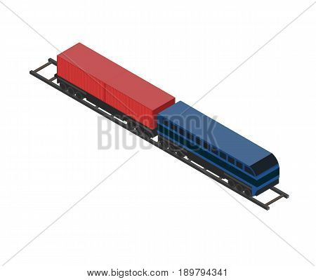 Railway cargo wagon icon. Side view freight container, cargo train on railroad isolated on white background vector illustration.