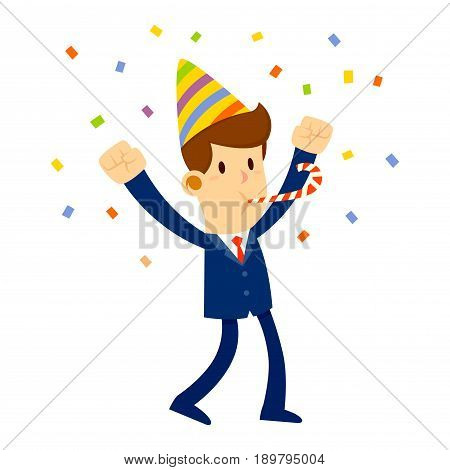 Vector stock of a businessman celebrating with party hat and confetti