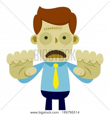 Vector stock of a businessman turns into a zombie