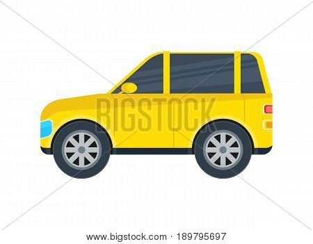 Off road jeep isolated icon. SUV car, modern automobile, people transportation side view vector illustration.