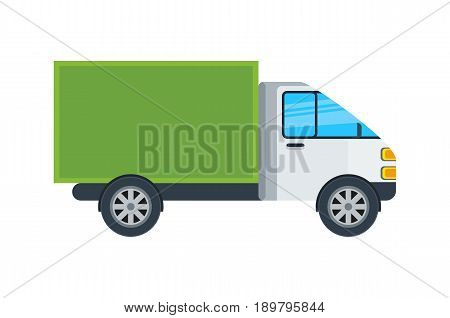 Commercial van isolated icon. Delivery truck, modern lorry car, freight transport side view vector illustration.