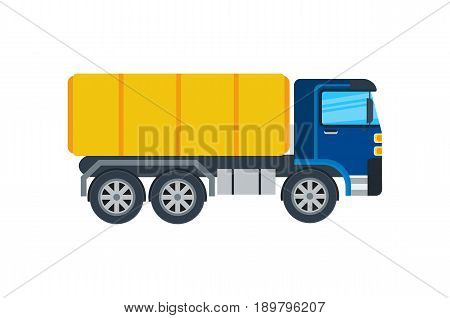 Commercial truck isolated icon. Modern lorry car, freight transport side view vector illustration in flar design.