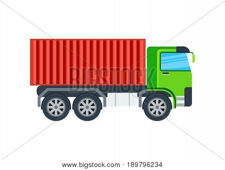 Freight truck isolated icon. Modern lorry car, commercial cargo transport side view vector illustration in flar design.