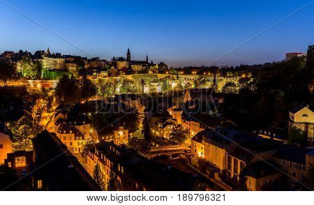 Luxembourg City sunset top view in Luxembourg Panorama