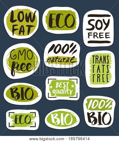 Organic food hand drawn labels set vector illustration. Vegetarian, gmo free, fresh and natural, vegan, soy free, healthy diet, lifestyle, low fat food, organic products, bio and eco nutrition concept