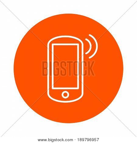 Vector monochrome round icon smartphone transmitting data flat style.