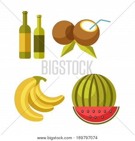 Beach bar exotic juice cocktails and refreshment drinks and tropical fruits snacks of coconut, banana and watermelon. Vector flat isolated icons set for summer holiday vacations