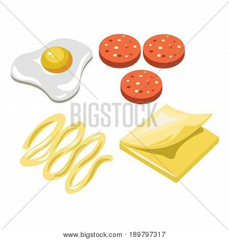 Sandwich or burger constructor of fast food ingredients and fillings bacon sausage, toast bread, egg and sauce. Vector flat isolated icons for fastfood menu infographics