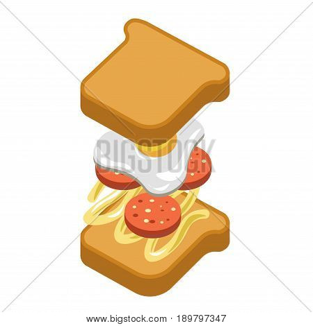 Sandwich or fast food burger constructor of ingredients and filling layers of bacon sausage, toast bread, fried egg and sauce. Vector flat isolated icon for fastfood menu infographics