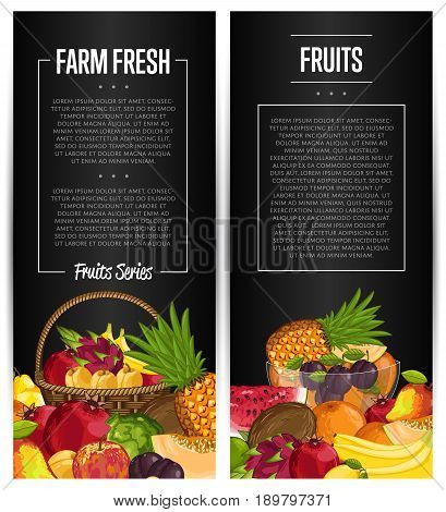 Fresh organic fruit flyers set vector illustration. Natural product, juicy fruit, healthy nutrition, organic farming, vegan food. Pineapple, melon, pomegranate, peach, coconut, apple, watermelon, plum