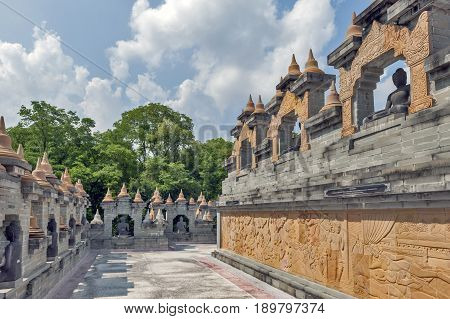 Walkway Inside A Huge Complex Of Chedi Hin Sai, Sandstone Stupas Resembling Borobudur At Wat Pa Kung