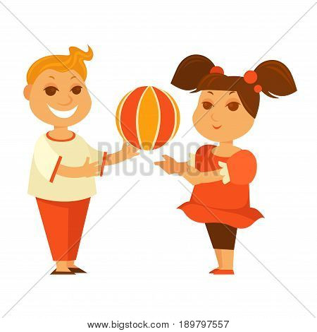 Happy girl and boy playing ball. Children or kids play outdoor games vector isolated flat icons