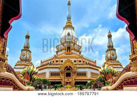Phra Maha Chedi Chai Mongkol, A Highly-revered Pagoda Containing Relics Of Buddha, Located At Wat Ph