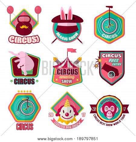 Circus logo templates set of magician hat with rabbit, elephant on equilibristic unicycle bicycle, clown and monkey on cannon. Vector isolated flat icons for amazing show performance