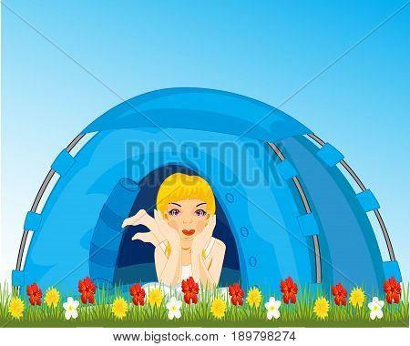 Girl reposes in tourist tent on meadow with flower