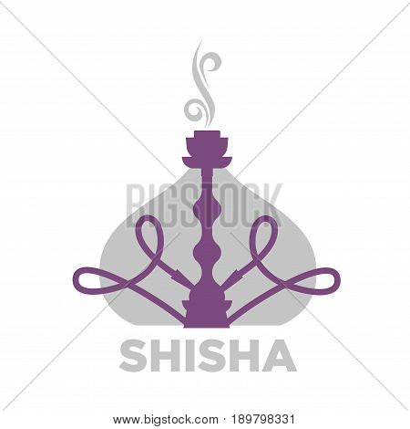 Shisha violet equipment for relaxation isolated on white. Close up vector illustration in flat design of hookah symbol with smoke and inscription below. Great way of relax for smoking people
