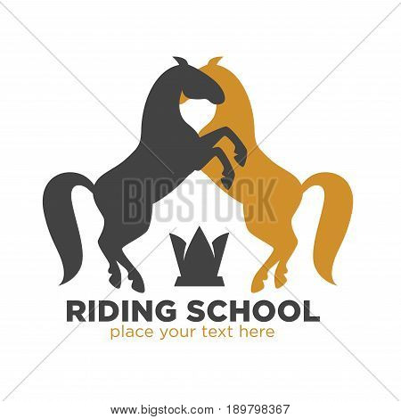 Riding school logotype with black and brown horses silhouettes that stands on hind legs in front of each other and small black crown at bottom isolated vector illustration on white background.