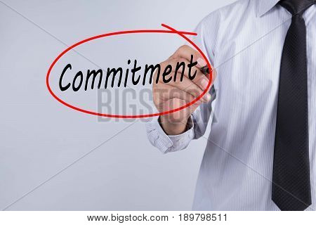 Businessman Hand Writing commitment with a marker over transparent board Business concept. poster