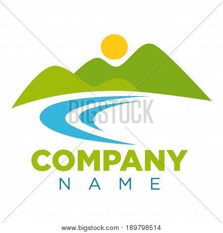 Emblem with place for company name. High green hills, bright round sun above and blue river at footage isolated vector illustration on white background. Natural landscape as enterprise logotype.