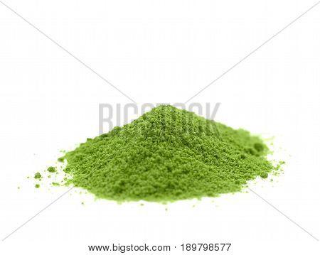 green tea powder heap isolated on white background